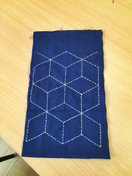 Block5 for the Sashiko/Boro group quilt