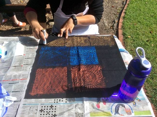 The lovely weather had us move outside for Shiva Paintsticks with Leslie Edwards
