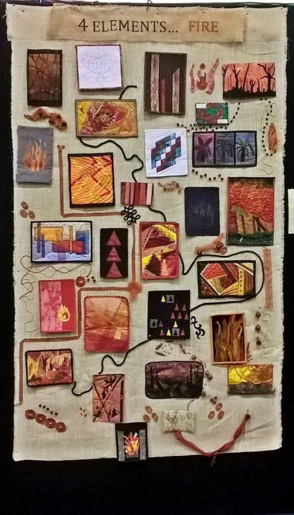 Ps&Qs group quilt: 4 elements - fire